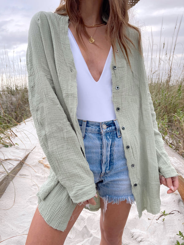 oversized sage green cotton button up