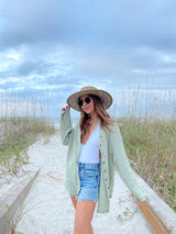 womens cotton button up top in sage green