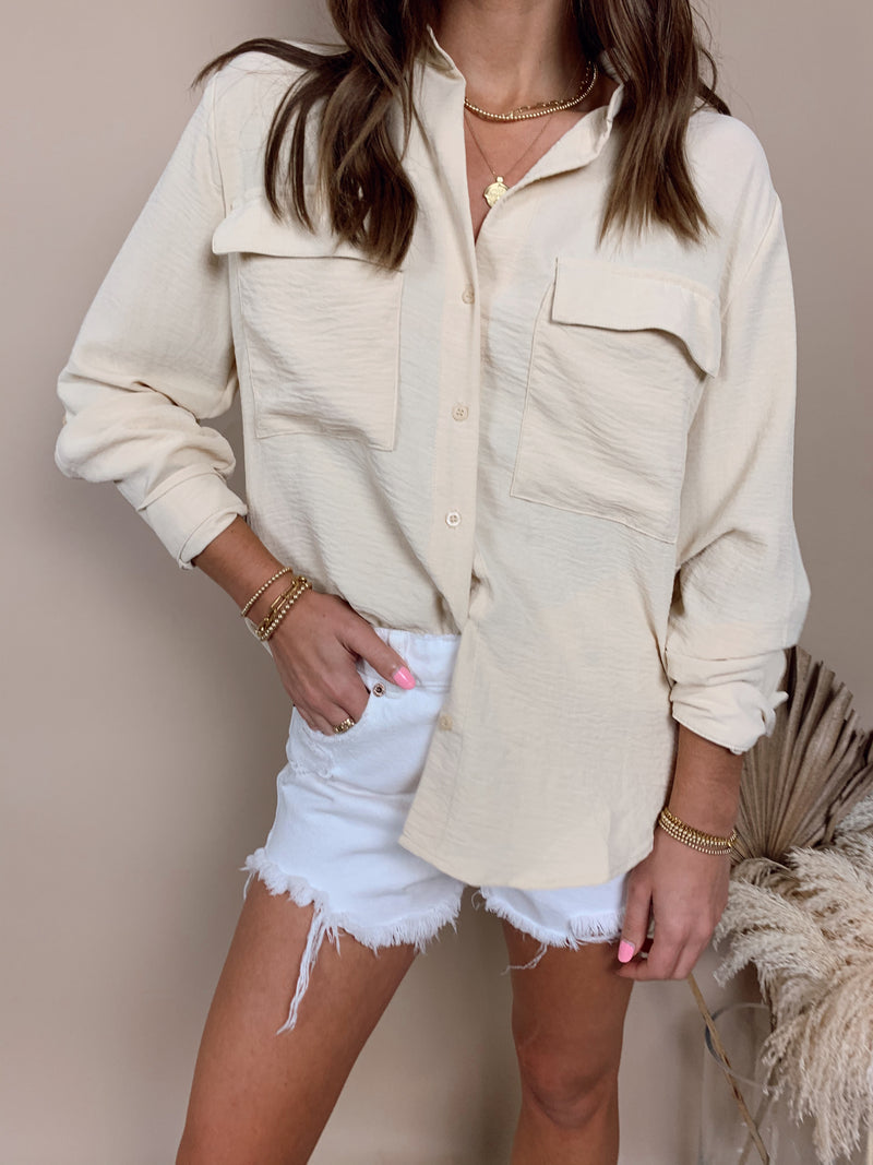 womens beige button down top