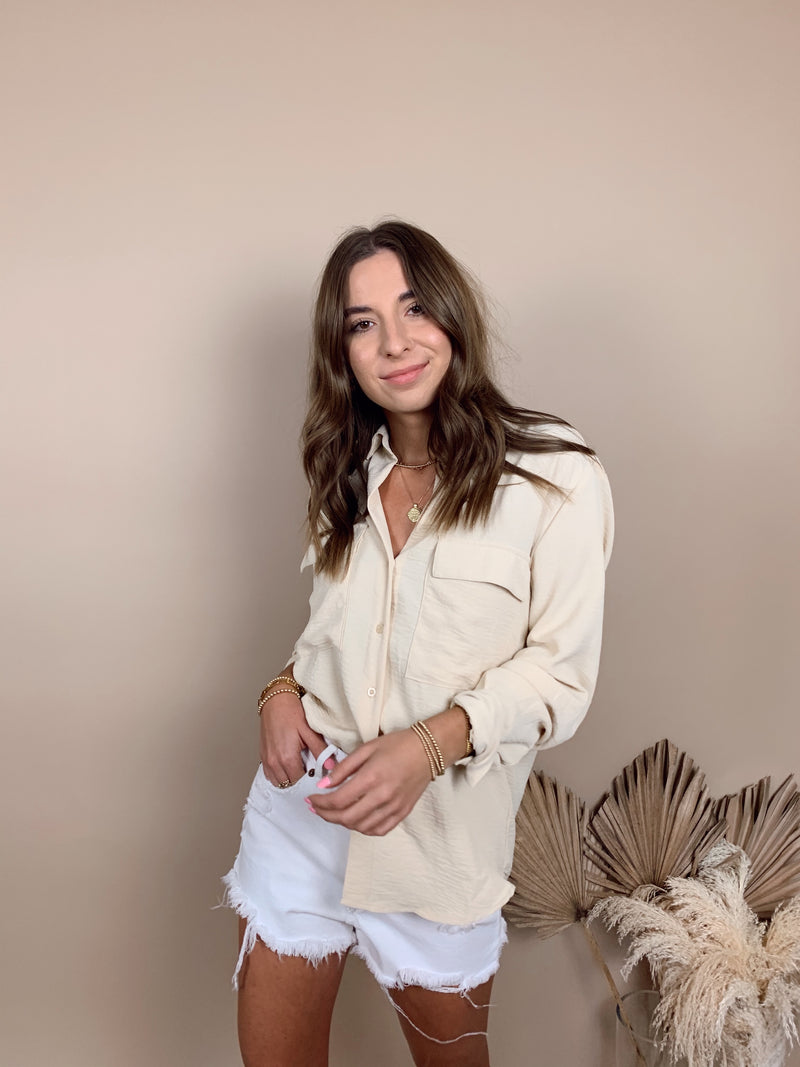 womens trendy oversized beige button down top