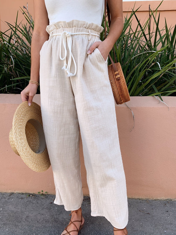 Vacay Time Cotton Paper Bag Waist Pants