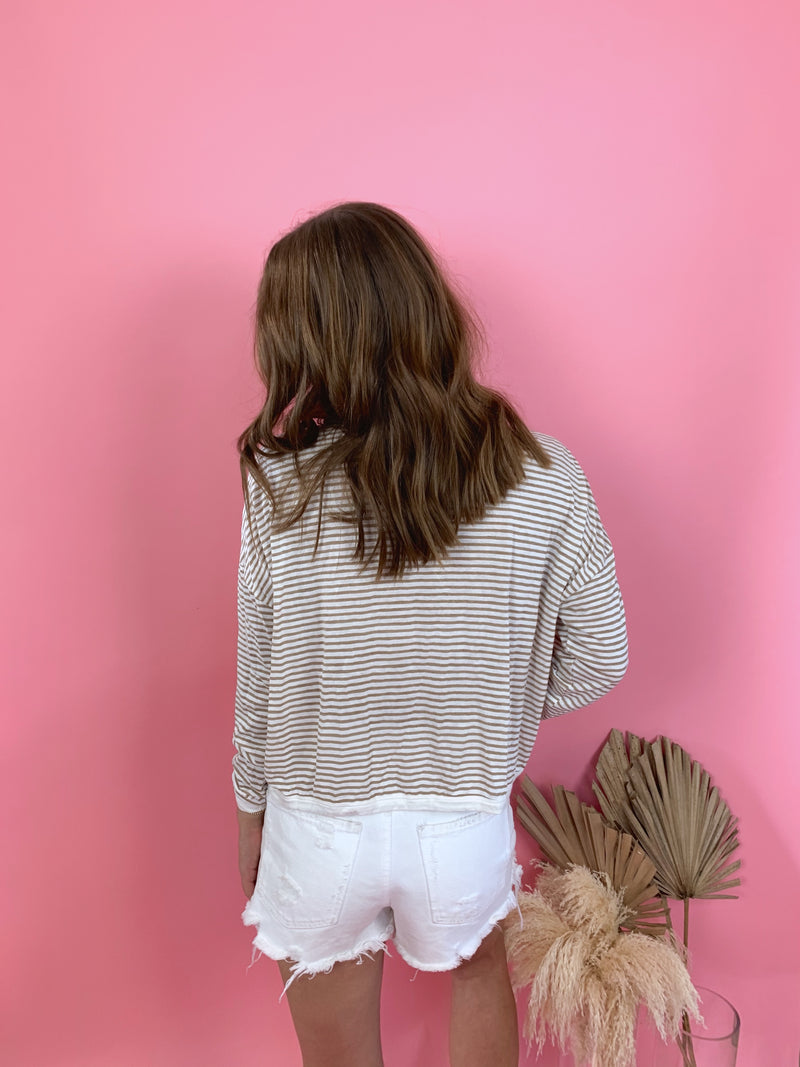 womens fall striped beige long sleeve top