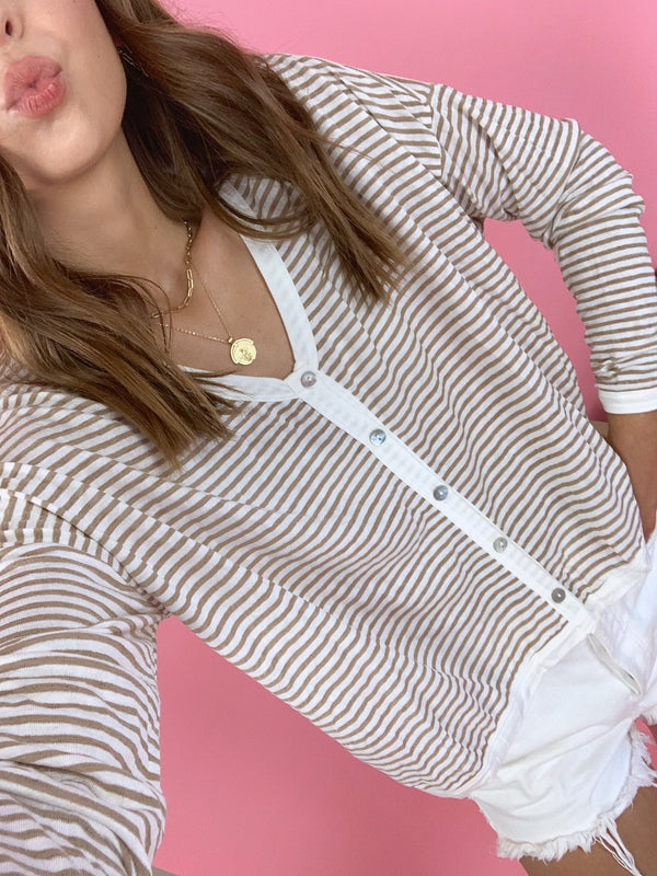 womens tan and white striped top