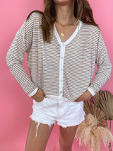 womens beige and cream striped long sleeve top