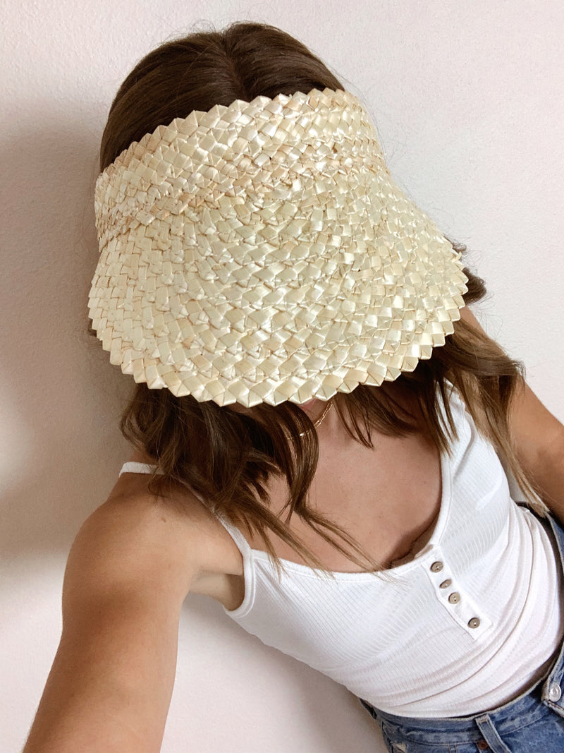 womens straw visor hat