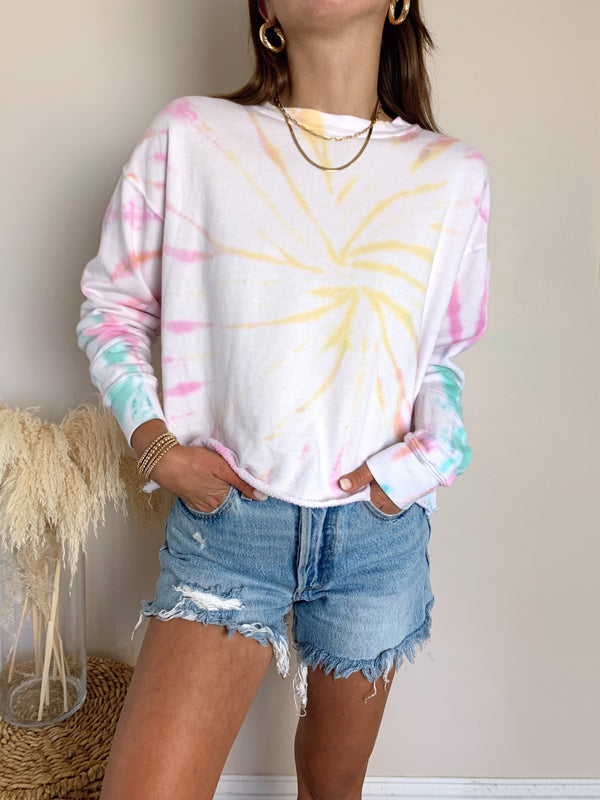 Womens multi colored tie dye sweatshirt