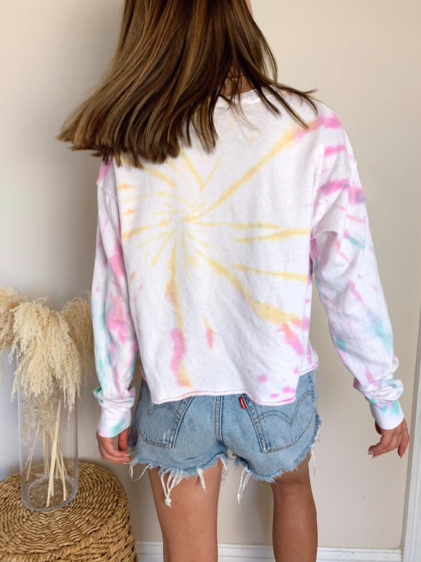 womens tie dye cool multi colored sweatshirt