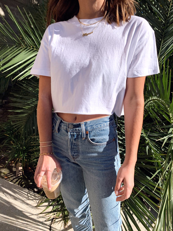 womens white crop top tee with levis