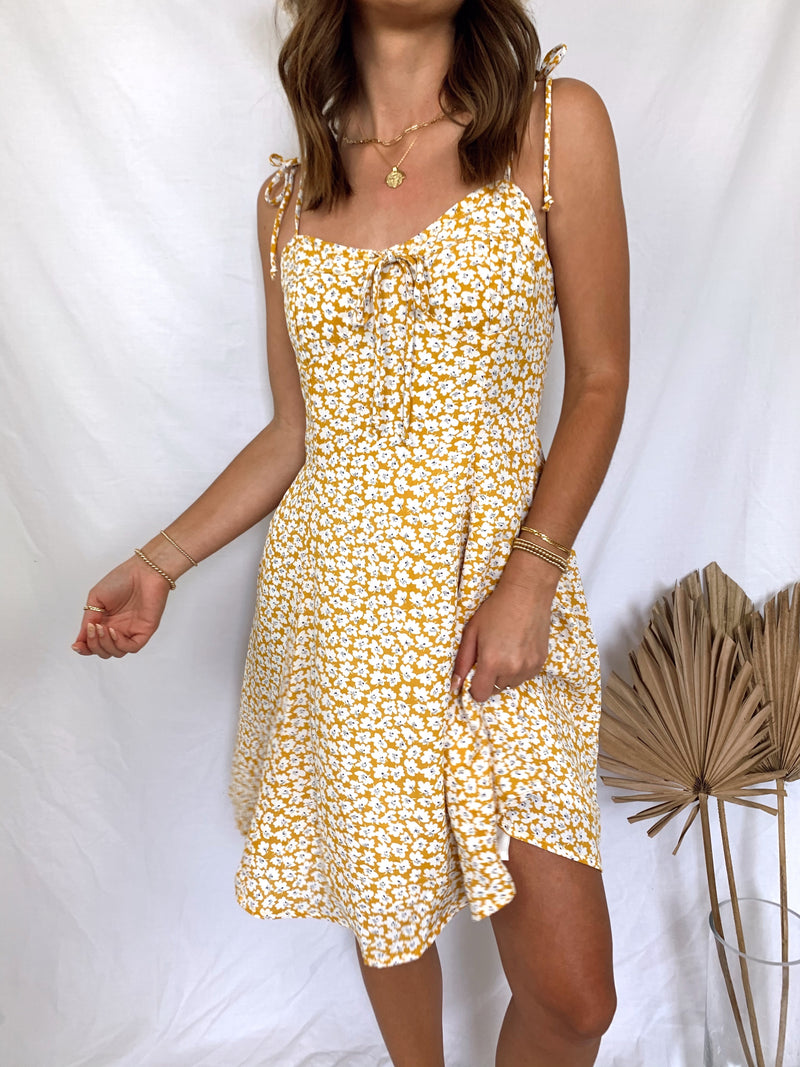 yellow floral mini dress