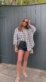 womens off white plaid flannel