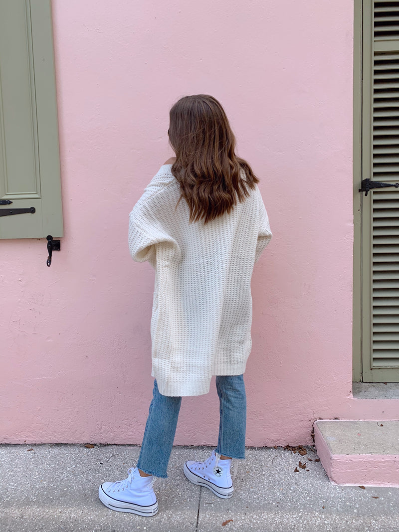 womens white sweater cardigan