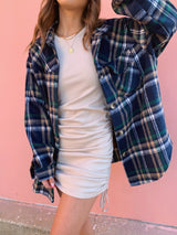 womens navy blue plaid shacket