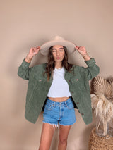 womens olive green corduroy jacket