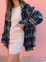womens navy blue long sleeve plaid shacket