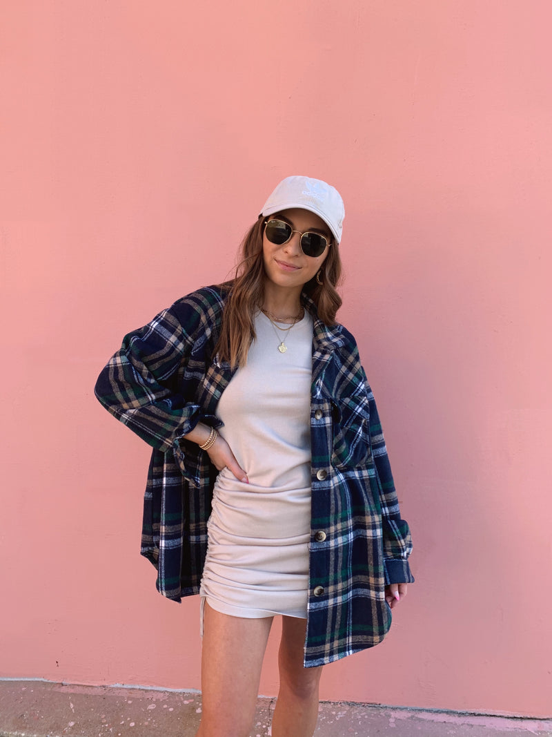 womens navy blue and white plaid shacket