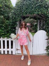 womens pink tie dye mini dress
