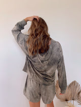 womens mocha tie dye lounge set