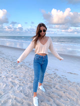 womens beach crop sweater