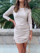 womens holiday long sleeve oatmeal side ruched dress