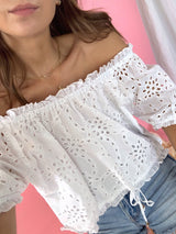 womens white eyelet top
