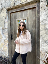 womens oversized cream teddy jacket