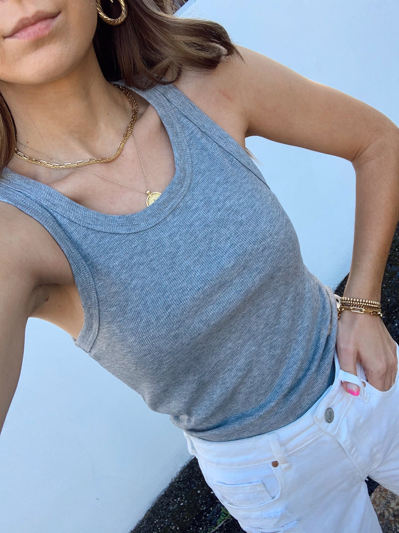 womens grey scoop neck tank top