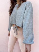 grey long sleeve drawstring crop sweatshirt