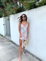 womens pastel tie dye mini dress