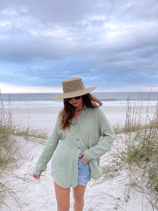 womens sage green cotton cover up top