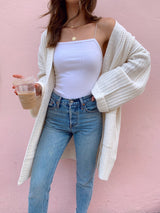 womens ivory sweater cardigan