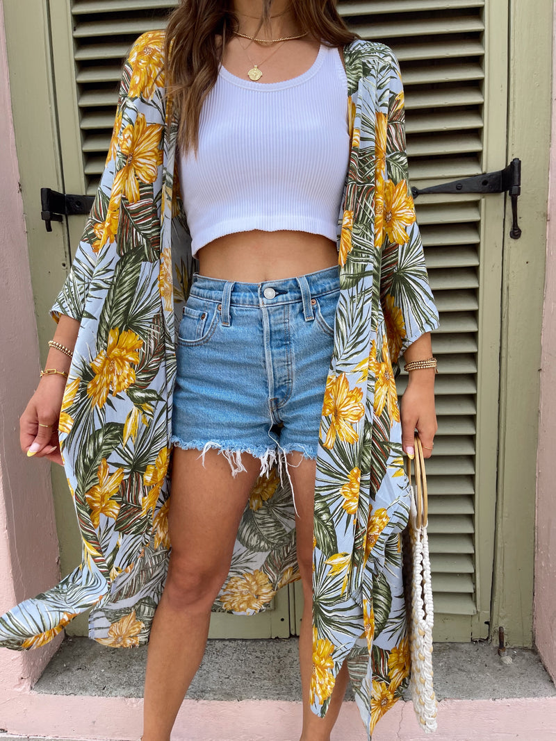 tropical floral and palm leave summer kimono