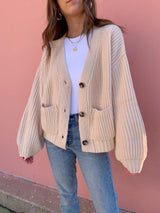 womens neutral sweater knit cardigan