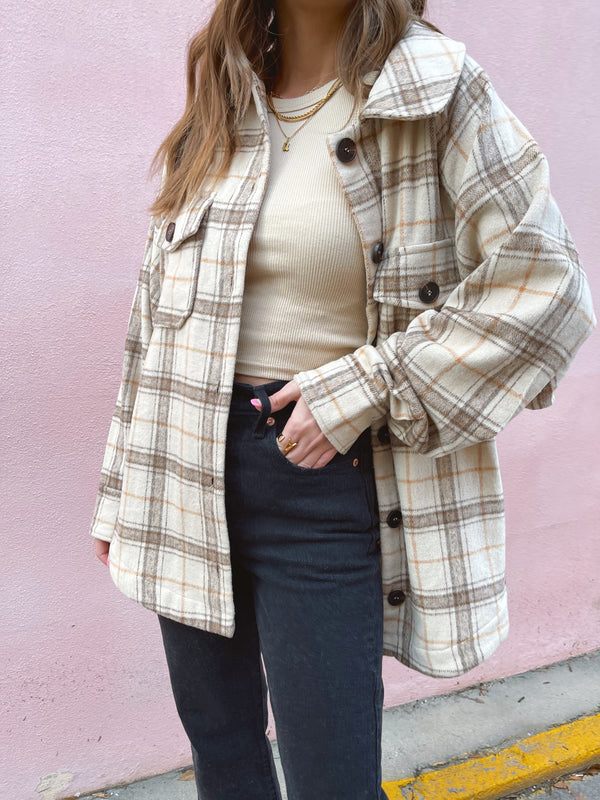 womens neutral plaid shacket