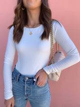 womens white long sleeve bodysuit