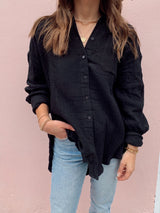 womens trendy black cotton button down top