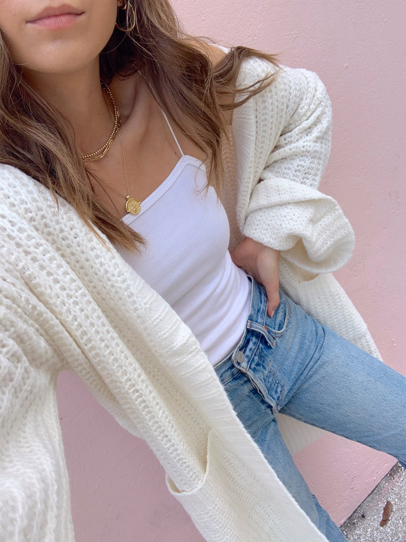 womens oversized ivory sweater cardigan