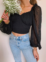 womens trendy black going out crop top