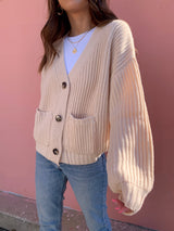 womens neutral beige sweater knit cardigan