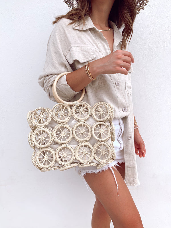 woven circle straw boho bag