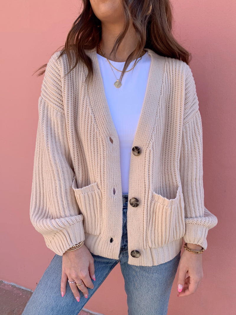 womens oatmeal short cardigan