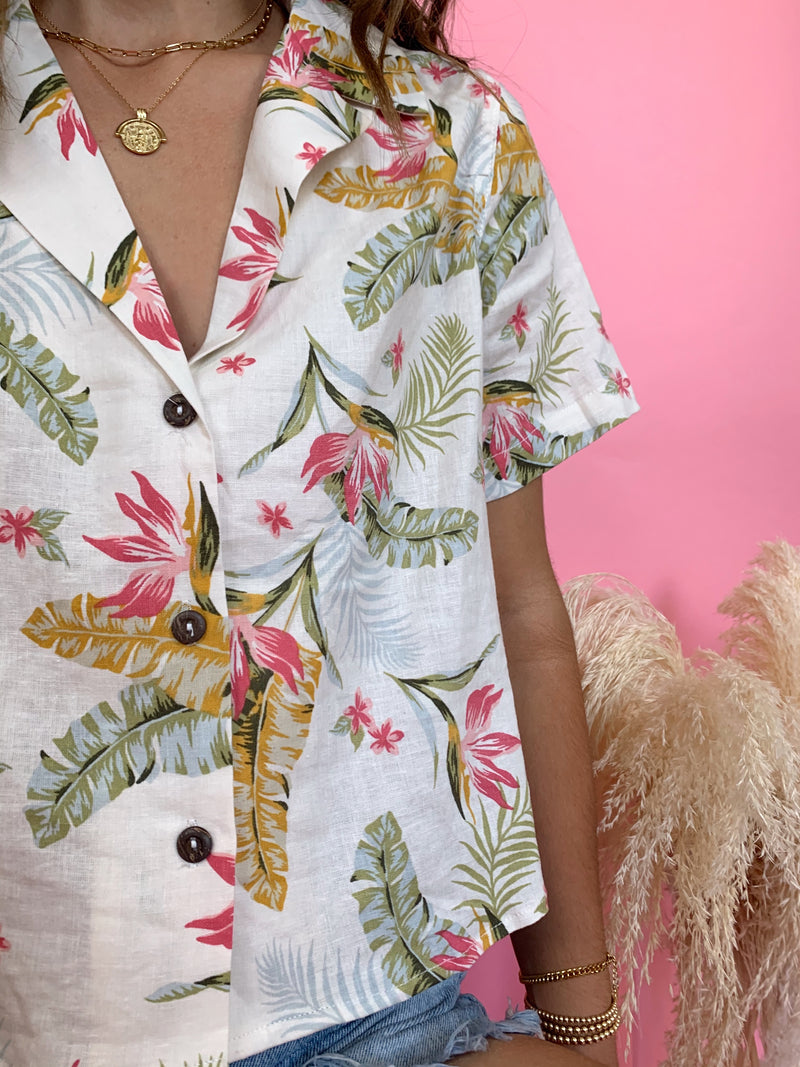 linen tropical print crop top