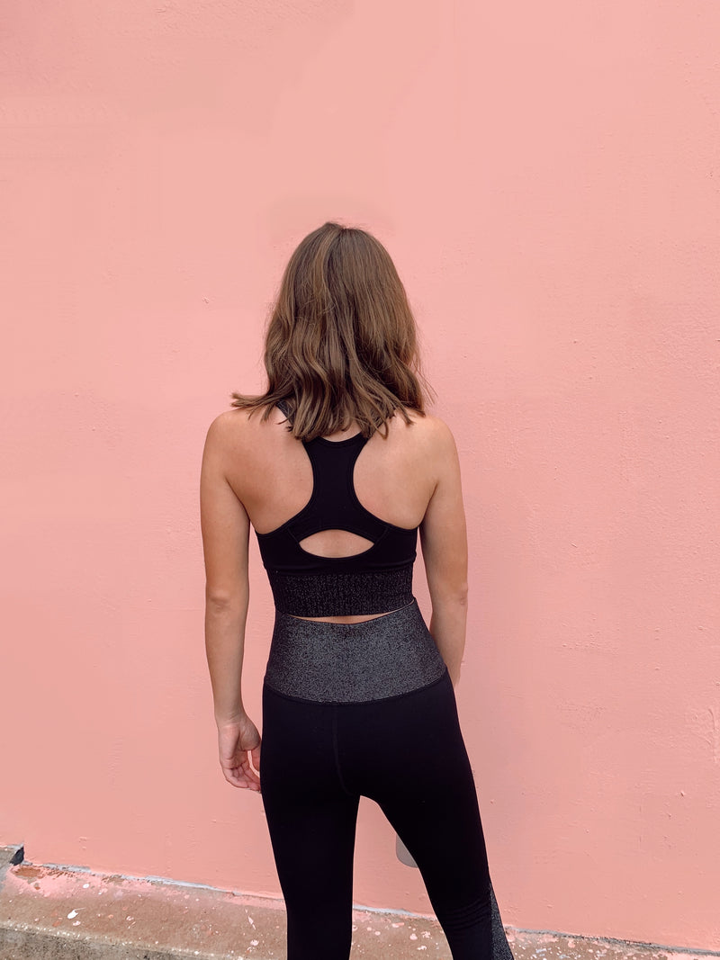 womens black glitter activewear set