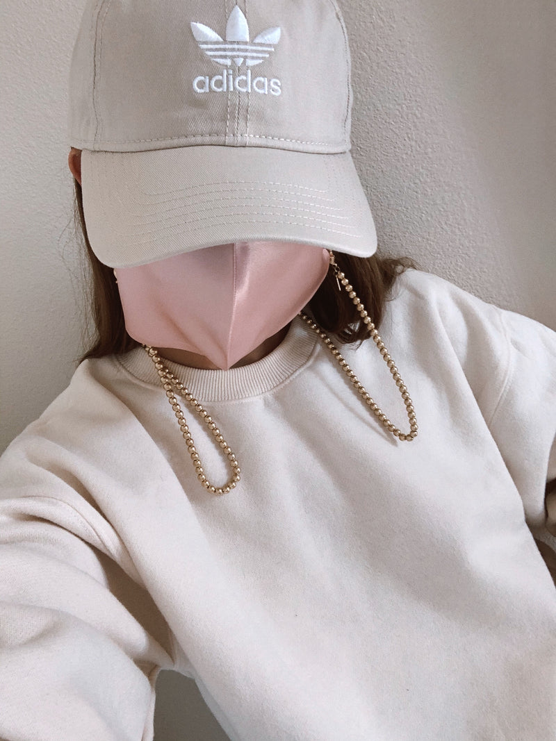 womens trendy gold bead facr mask chain