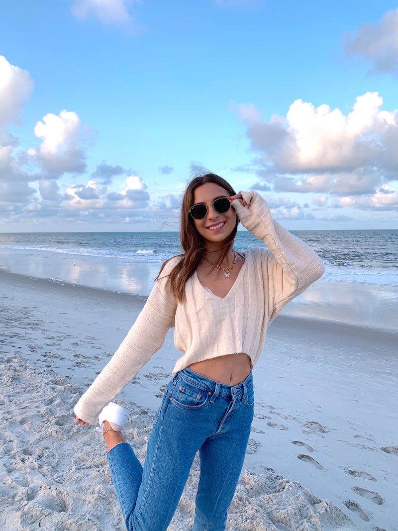 creme de la creme cream crop sweater