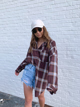 womens burgundy plaid flannel top