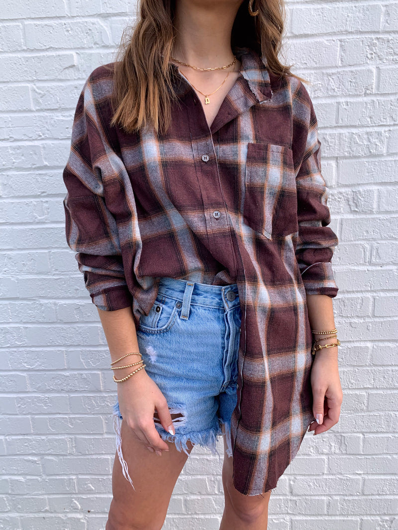 womens burgundy plaid button down flannel