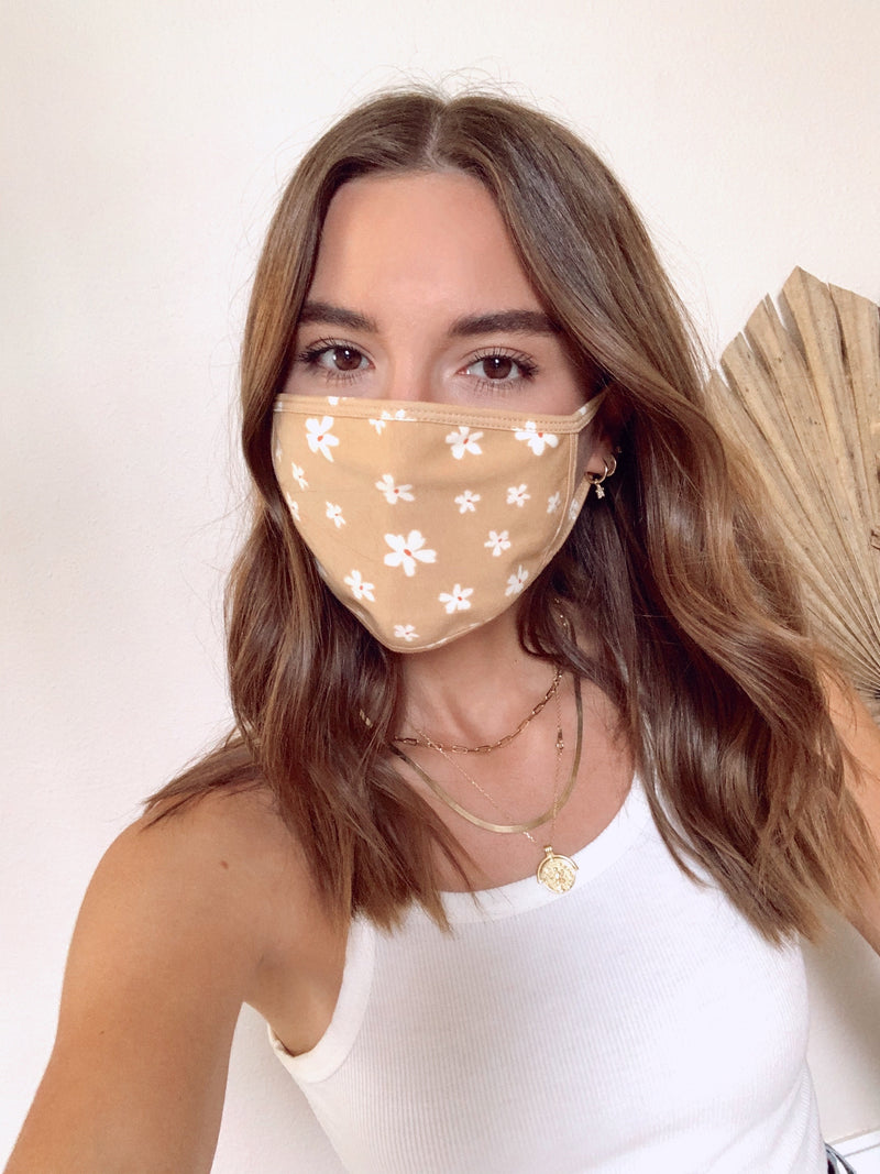 Neutral Floral Face Mask