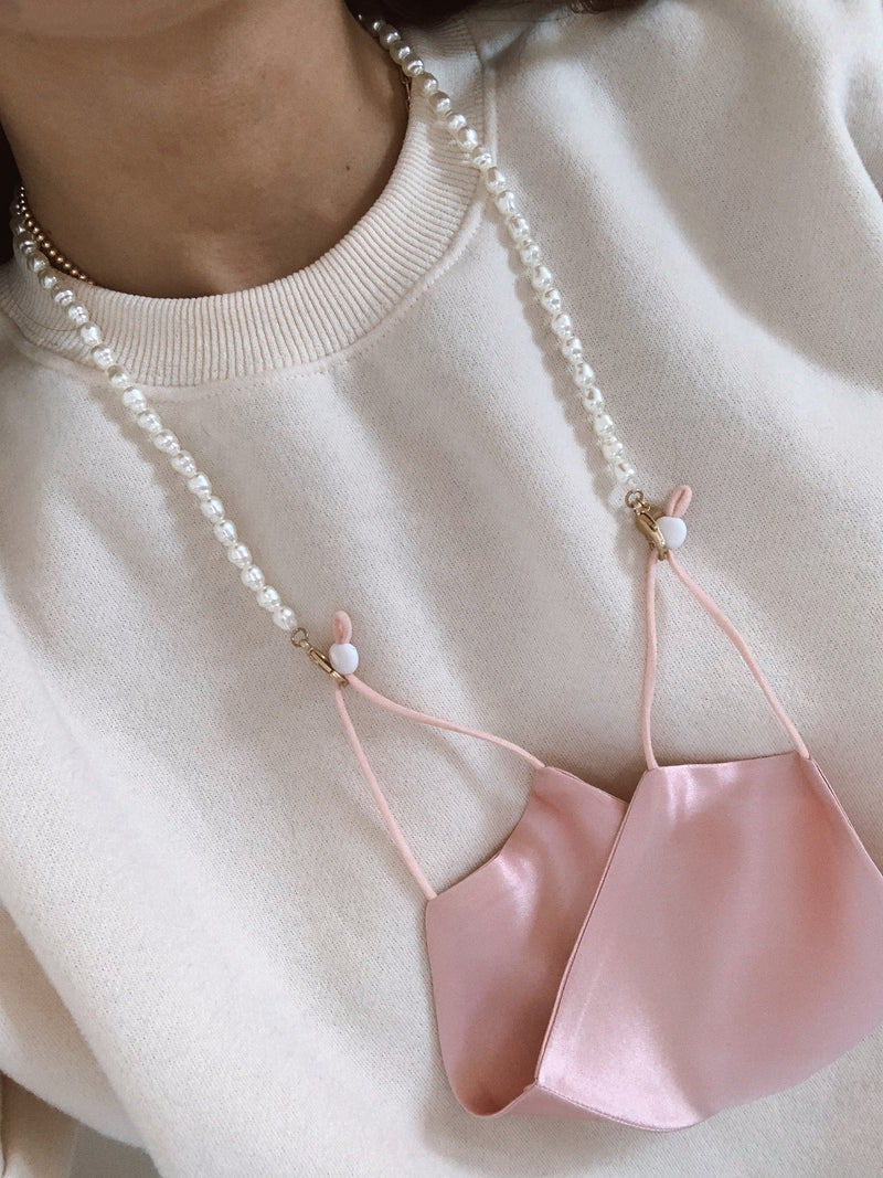 trendy pearl face mask chain