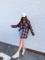 womens trendy burgundy plaid flannel top