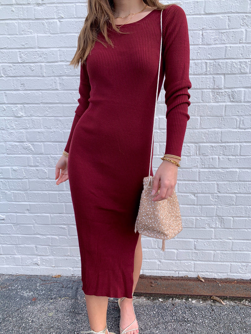 womens trendy holiday burgundy sweater dress long sleeve bodycon